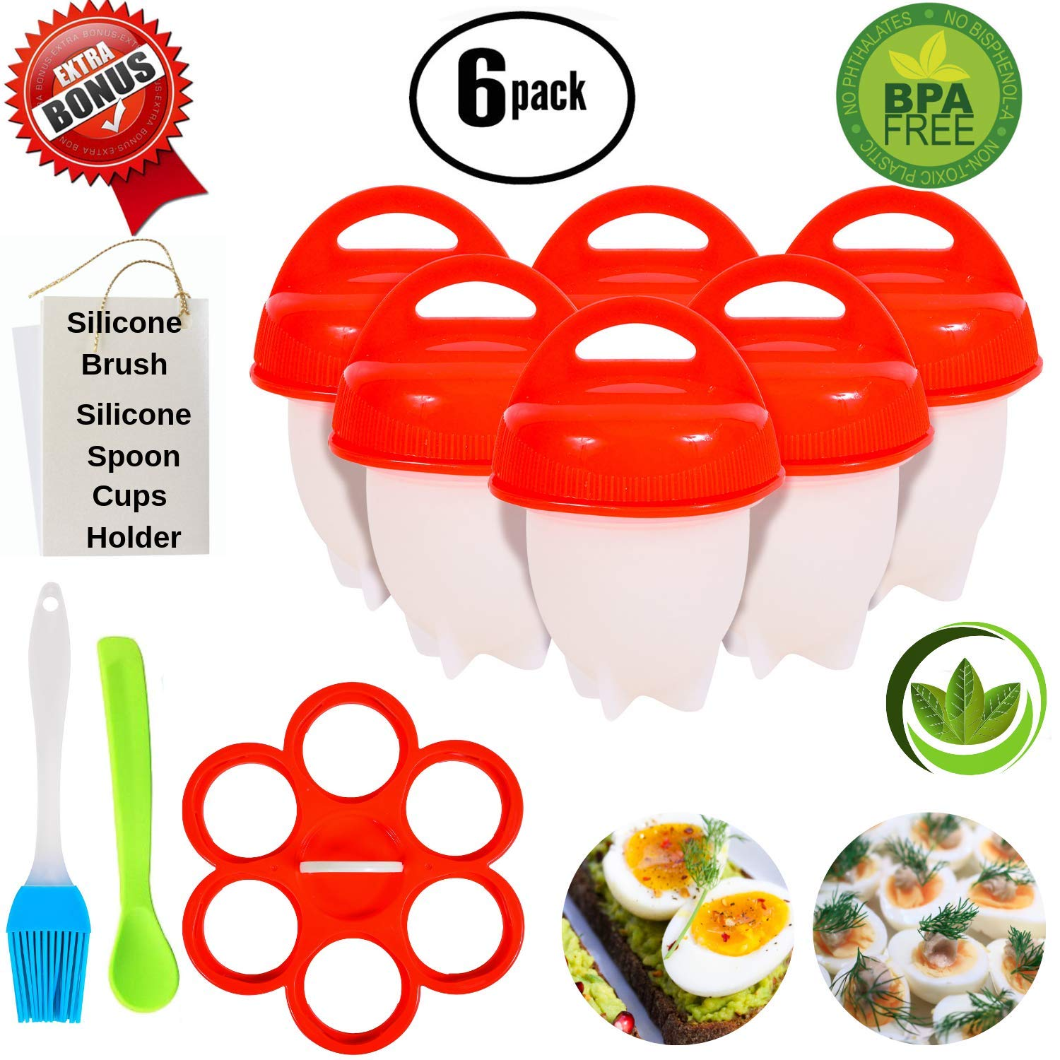 No.1 Hard Boiled Silicone Egg Cooker Without The Shell, Non Stick Egg Boil Poacher, As Seen On TV, With Bonus Holder & Silicone Oil Brush, (6pc), Red by Home City Market