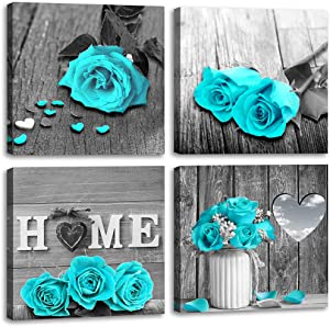 Wall Decor for Living Room Teal Blue Rose Flower Bathroom Decor Bedroom Wall Decor Black and White Canvas Art Home Love Couple Women Gifts Warm Theme Modern Frame Pictures Turquoise Rustic Sets