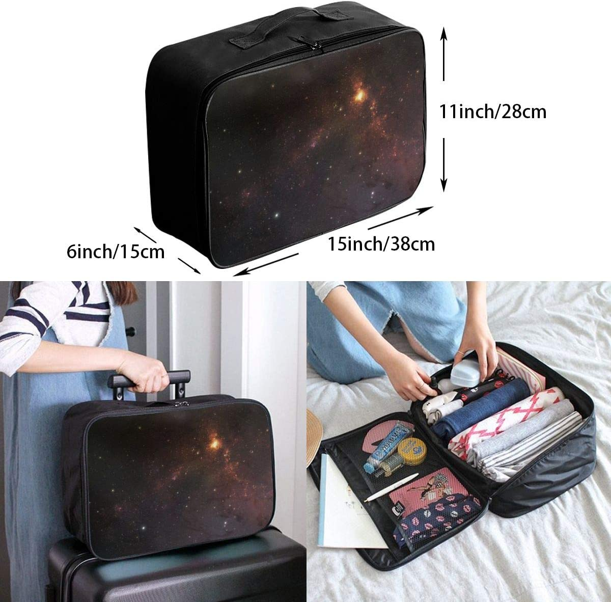 Yunshm Stars Galaxy Planets Wallpaper Background Personalized Trolley Handbag Waterproof Unisex Large Capacity For Business Travel Storage