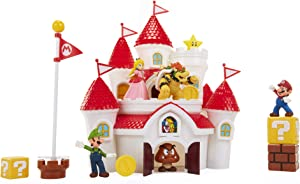 "Nintendo Super Mario Deluxe Mushroom Kingdom Castle Playset with 5 2.5"" Articulated Action Figures & 4 Accessories (Includes Mario, Luigi, Princess Peach, Bowser)"