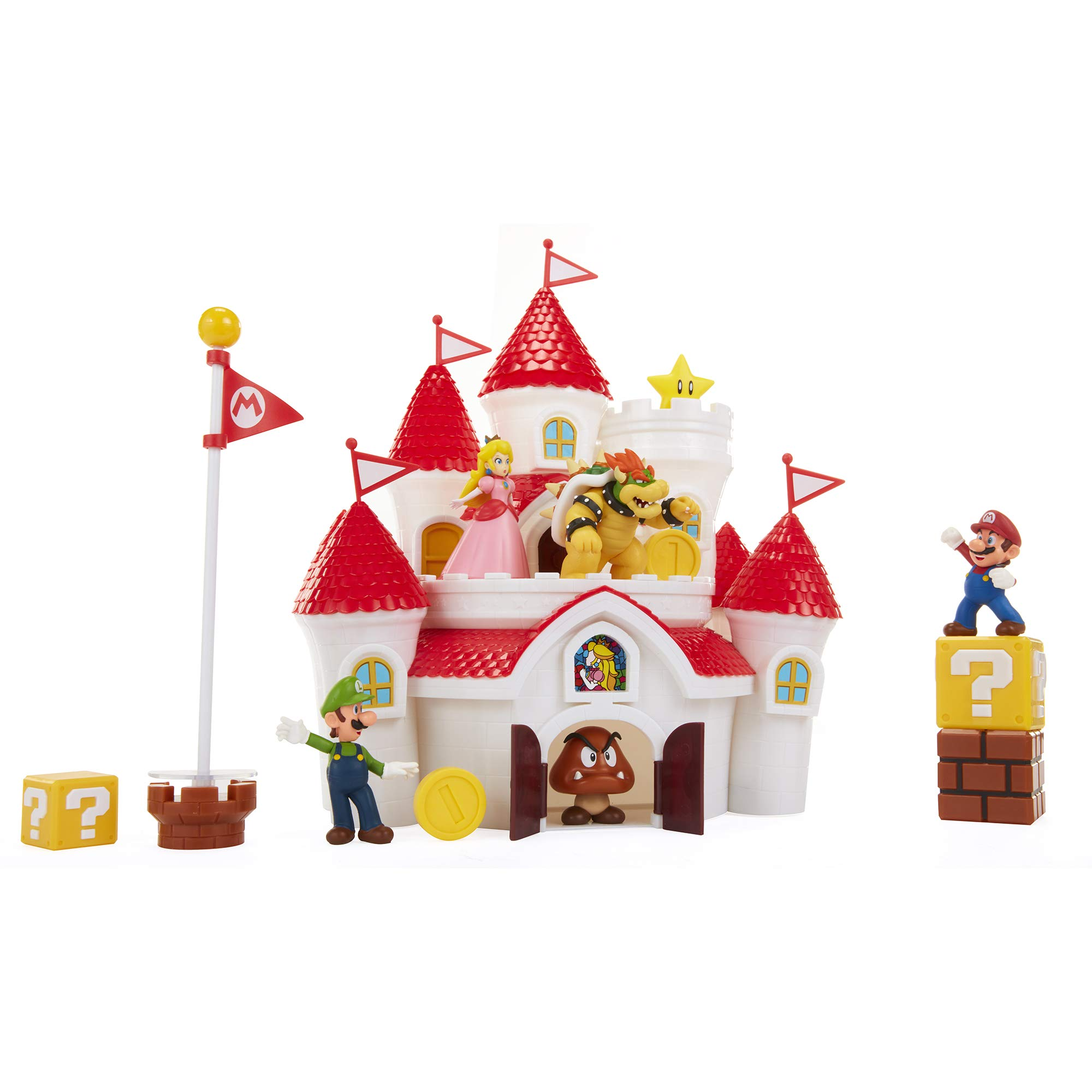 Nintendo Super Mario Deluxe Mushroom Kingdom Castle Playset with 5 2.5'' Articulated Action Figures & 4 Accessories (Includes Mario, Luigi, Princess Peach, Bowser) by Nintendo
