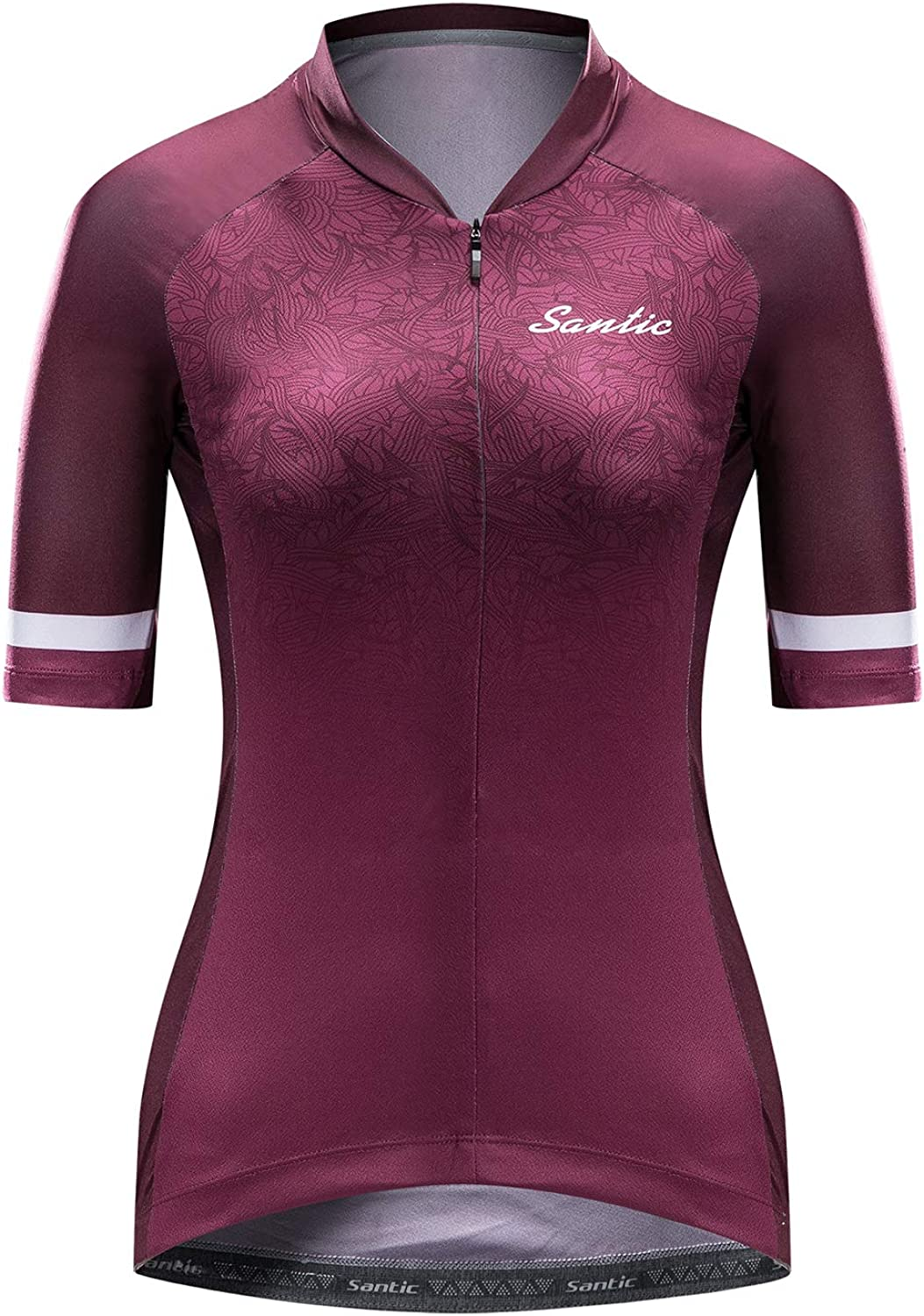 Santic Cycling Jersey Womens Shorts Sleeve Tops Bike Shirts Bicycle Jacket Full Zip with Pockets Sophie