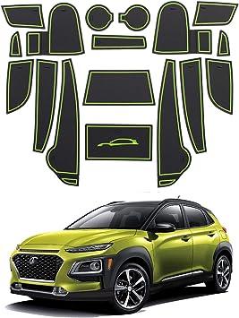 Tor-Schlitz-Auflage Schalen-Matte Automobildekoration mit Logo Anti-Staub- RUIYA Rutschfest Auto Innere T/ürschlitz Arm Box Aufbewahrung Matten Pads for 2018 Kona Wei/ß 18pcs // Set