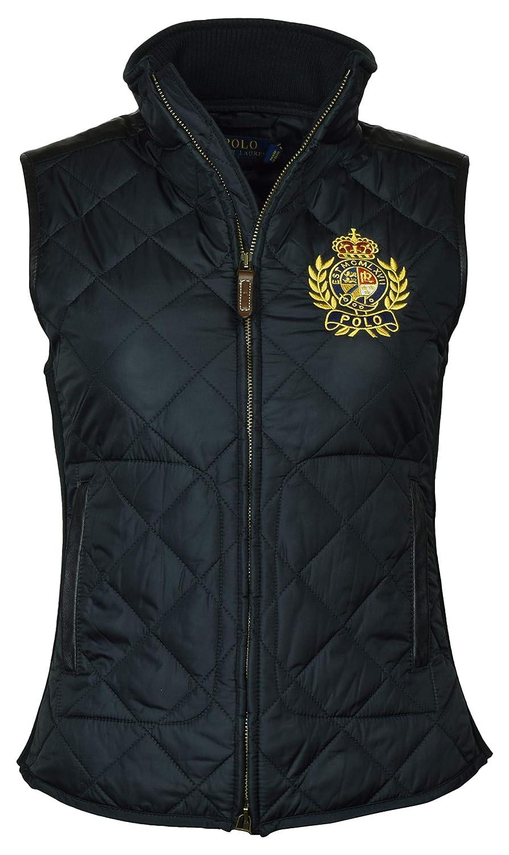 Black Polo Ralph Lauren Women's Leather Trimmed Quilted Crest Logo Vest