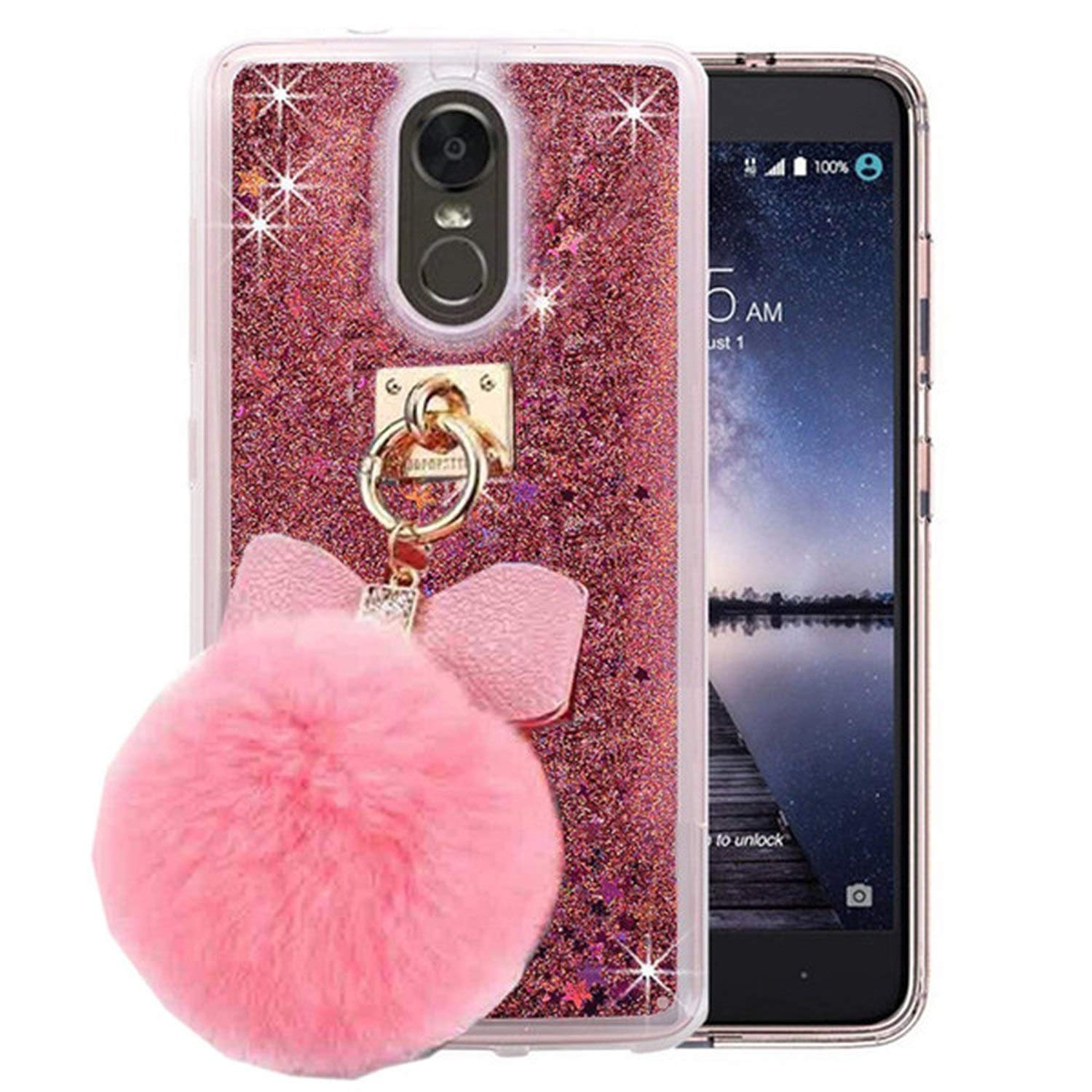 1Pcs Sparkle Sandglass Wine Cup Liquid Floating Diamond Bracelet Fur Ball Phone Case for LG Stylo 4 Q Stylus Stylus 4 Plus Cover,11,for LG Stylo 4
