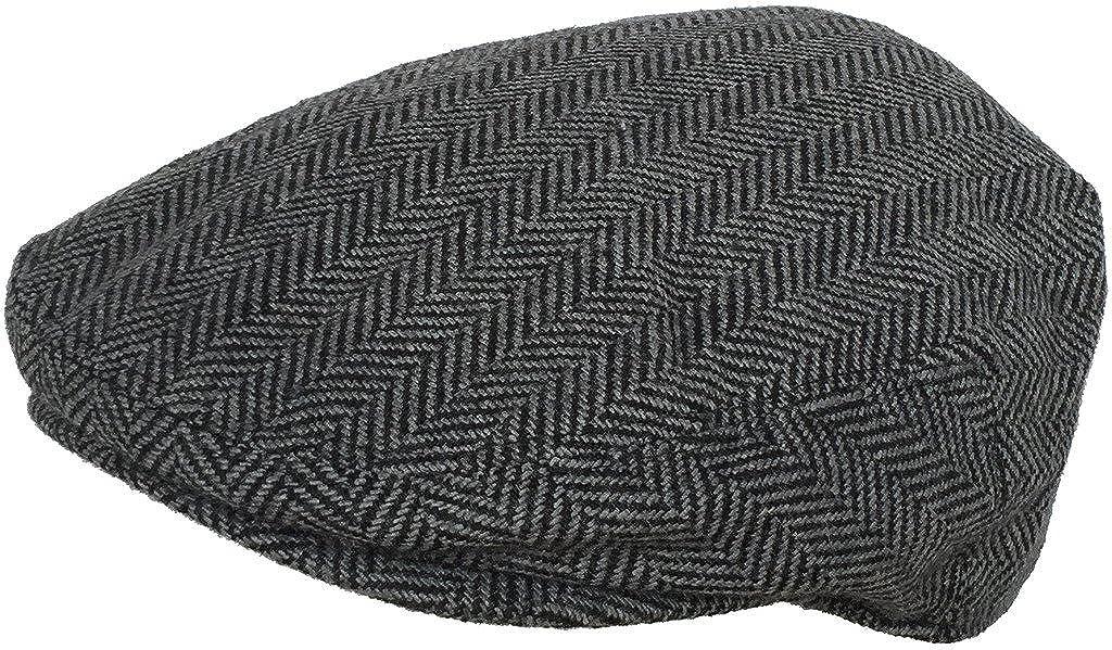 Wool Blend Herringbone Winter Ivy Scally Cap Flat Driver Hat 5 Point Newsboy