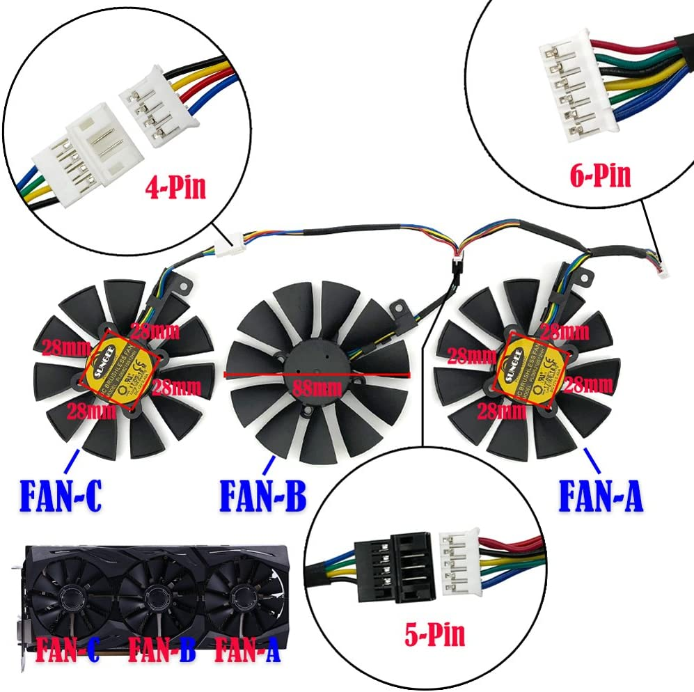 FAN-A 1Pcs 88MM PLD09210S12M And PLD09210S12HH Graphics Card For ASUS Strix GTX 1060 OC 1070 1070Ti 1080 1080Ti RX 480 580 VEGA 64 VEGA 56 Video Card Fan