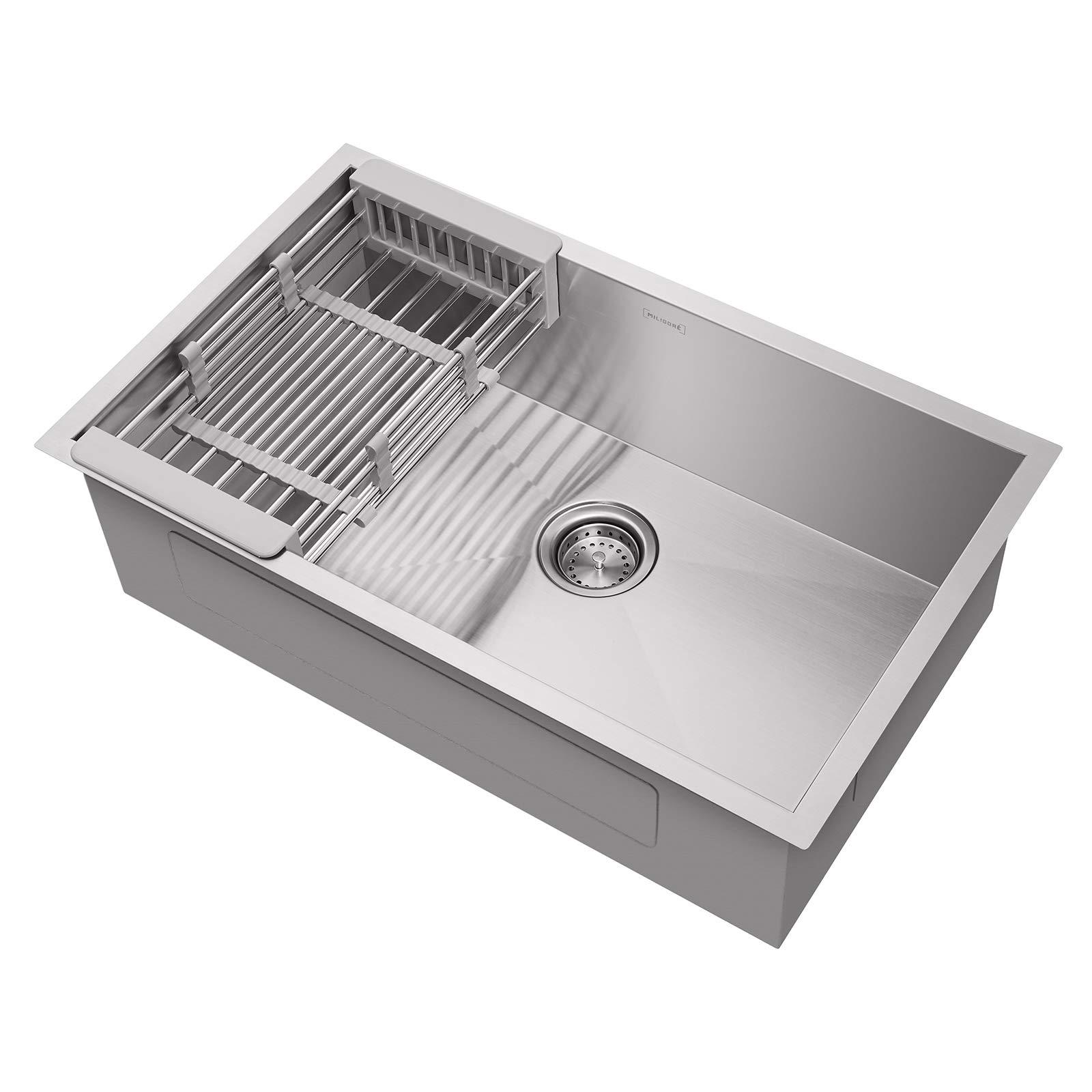 Miligore 30'' x 18'' x 9'' Deep Single Bowl Undermount Zero Radius Stainless Steel Kitchen Sink - Includes Drain/Adjustable Dish Rack by Miligore (Image #1)