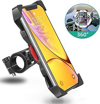 Babacom Soporte Movil Moto, Anti Vibración Soporte Movil Bici Montaña con 360° Rotación para Moto Cochecito, Universal Manillar para 3.5