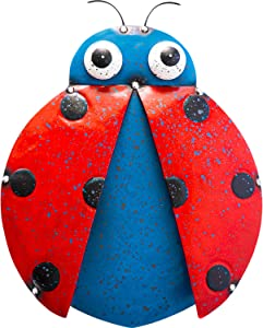 Shefio Ladybug Metal Wall Art - Outdoor/Indoor Rustic - Vintage 2-Tone Wall Hanging for Garden - Patio | Porch | Living Room | Kitchen - Handmade 3D Art Décor - 10x12 Inches - Blue/Red
