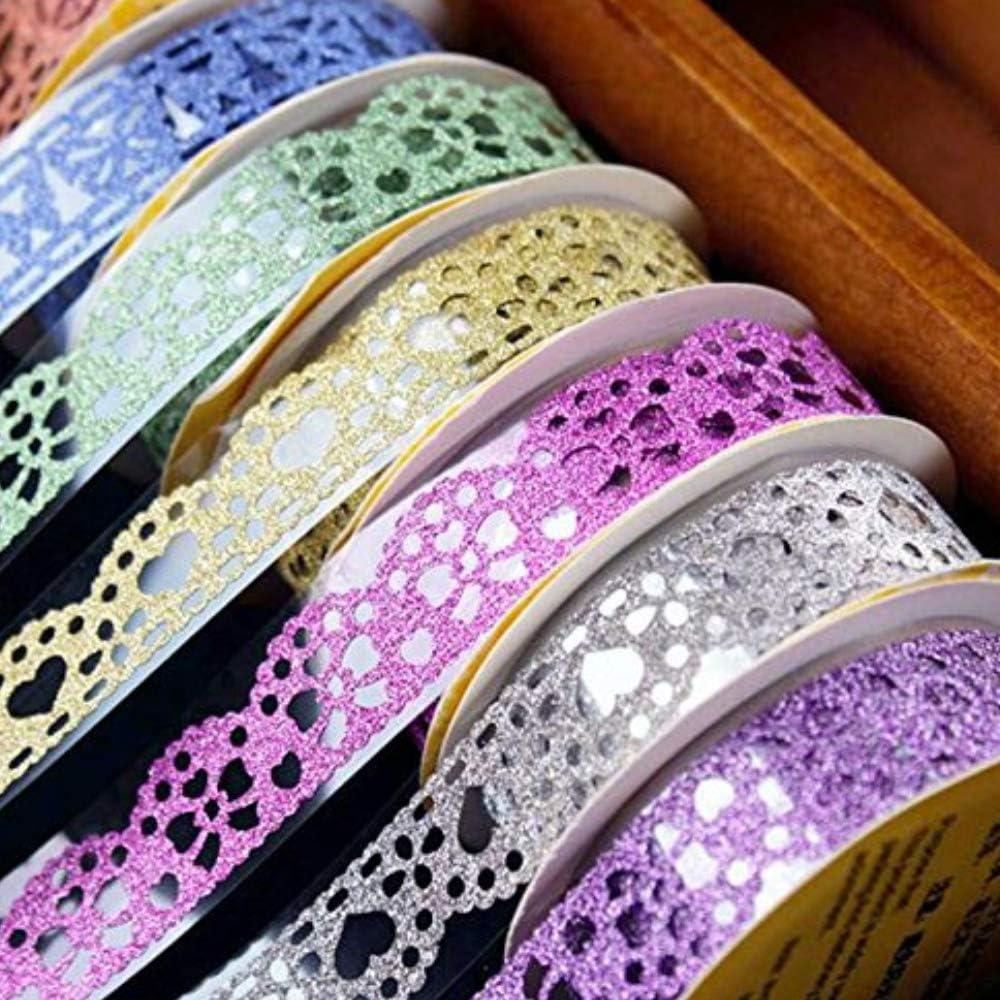 cinta washi con glitter puntilla de colores vibrantes  6 uni