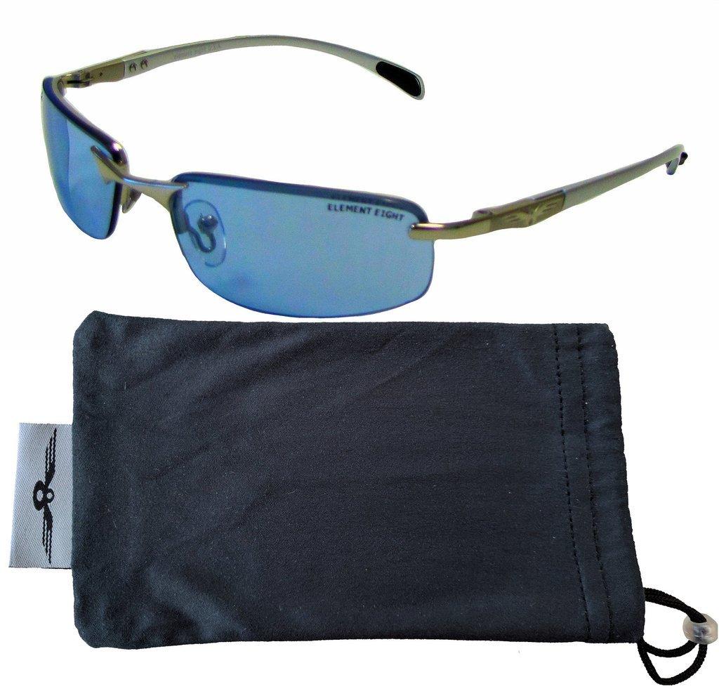 E8 Element Eight Metal Wire Frame Sunglasses Semi-Rimless – Silver Frame – Sky Blue Lens