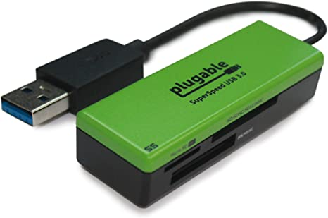 Plugable SuperSpeed USB 3.0 Flash Memory Card Reader for Windows, Mac, Linux, and Certain Android Systems - Supports SD, SDHC, SDXC, Micro SD T-Flash, ...