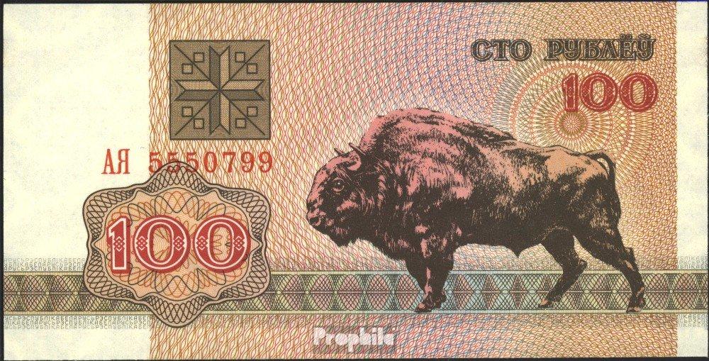 Prophila billetes para coleccionistas: Belarús Pick-No.: 8 unc 2000 100 Rubel Büffel