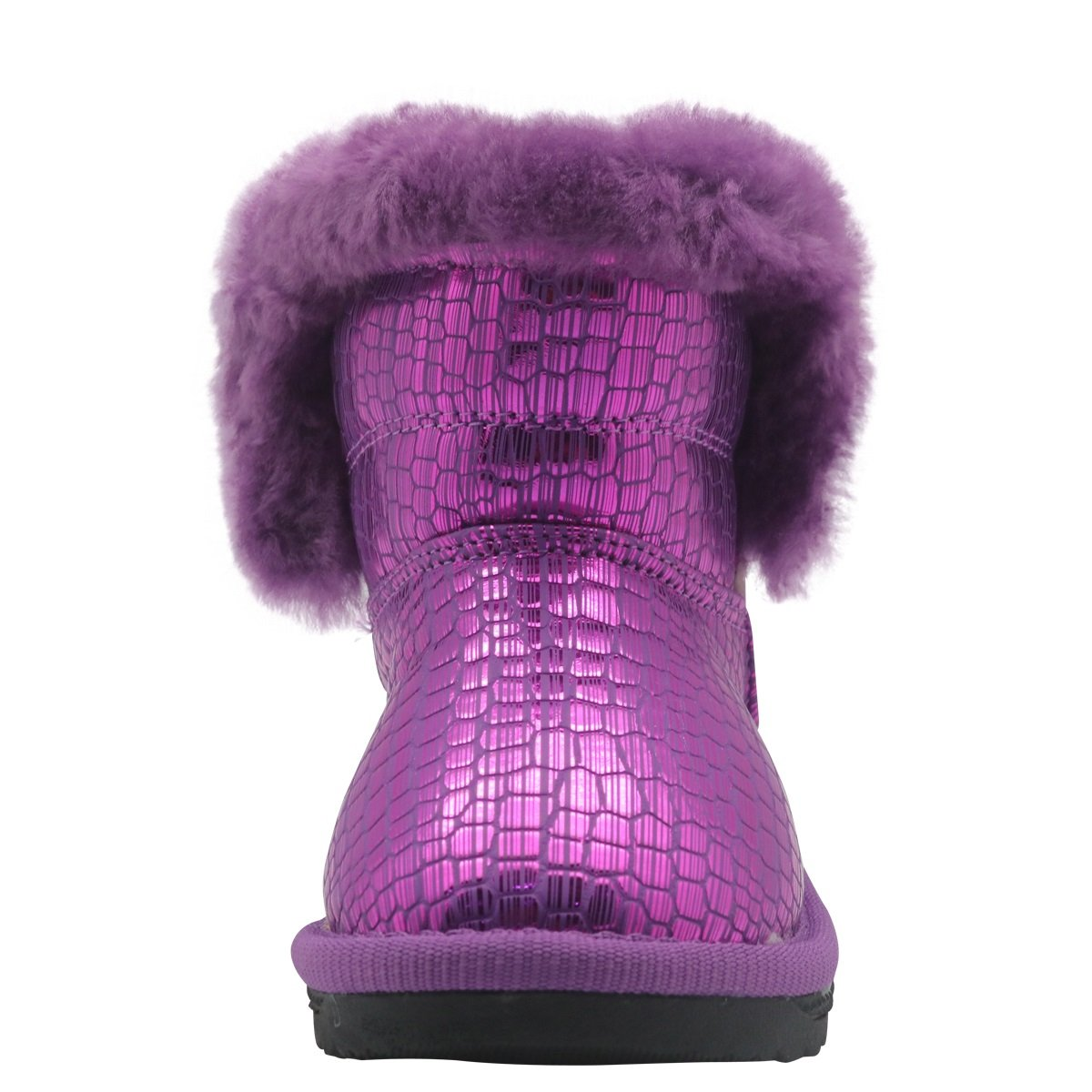 Non-Slip Toddler Shoes Girls Warm Winter Flat Shoes Fur Snow Boots with Woolen Lining Durable Color : Purple , Size : 10 M US Toddler