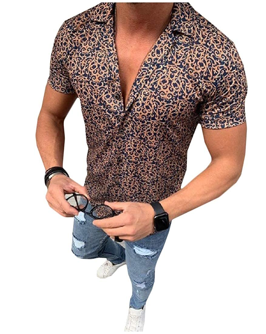 Mfasica Mens Casual Short-Sleeve Floral Printed Silm Fit Turn Down Collar Longshirt
