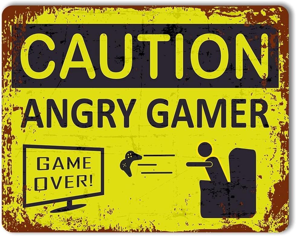 BEWARE ANGRY GAMER METAL SIGN MAN CAVE WARNING DOOR BEDROOM ATARI XBOX PC GIFT