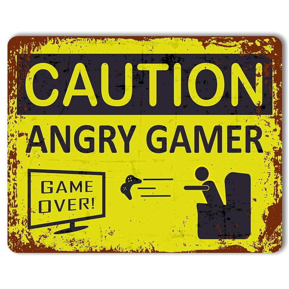 Caution: Angry Gamer - Vintage Metal Sign | Funny Gaming Sign | Man Cave Decor | Teenagers Bedroom Print Crafted