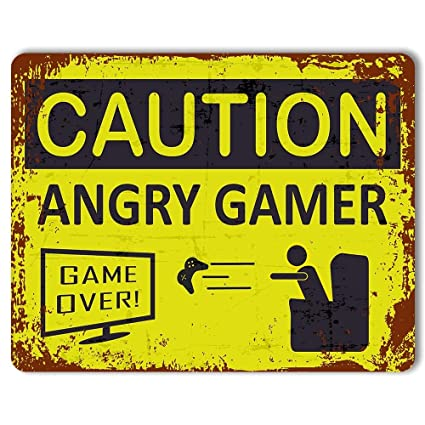 Print Crafted - Caution: Angry Gamer - Vintage Metal Sign | Funny Gaming  Sign | Man Cave Decor | Teenagers Bedroom