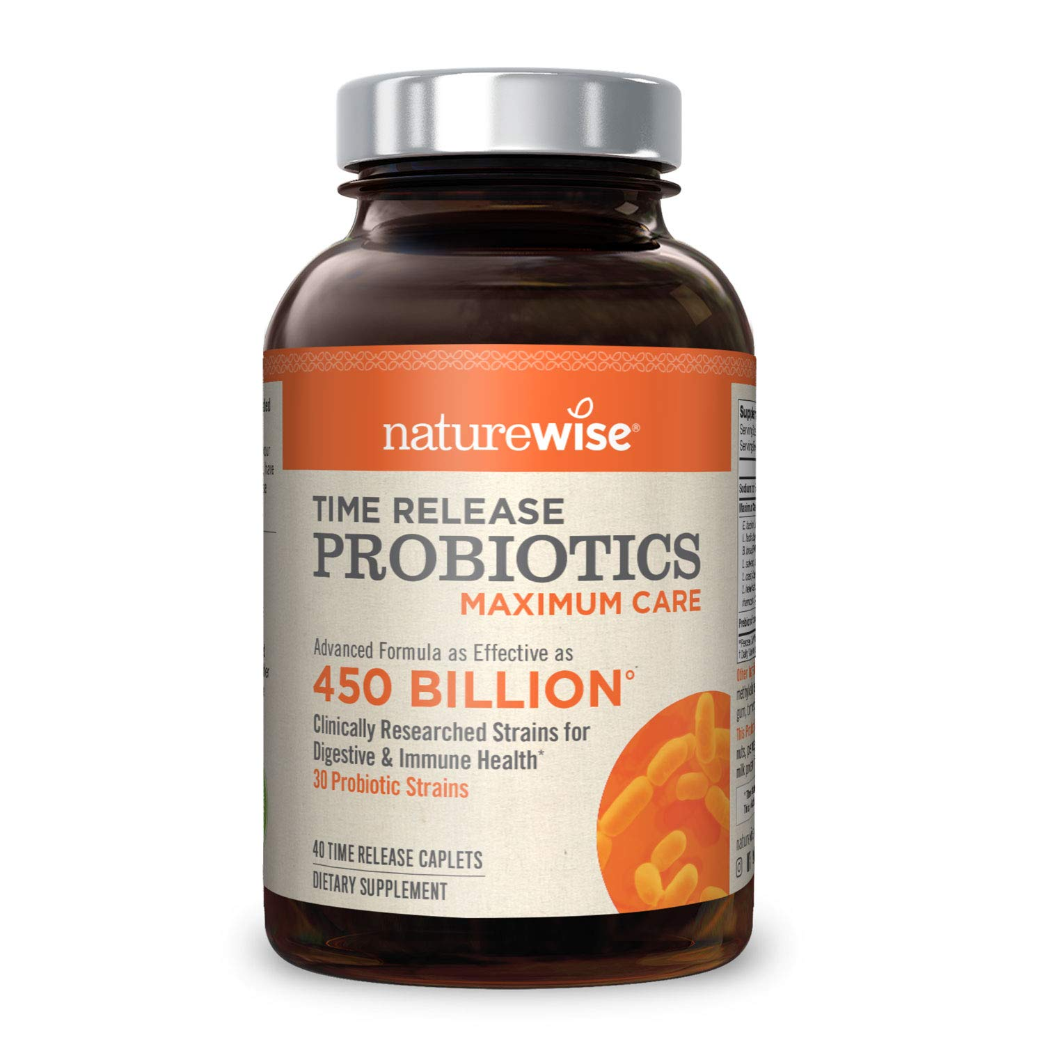 NatureWise Max Probiotics for Men & Women | Time-Release Caplets Comparable to 450 Billion CFU with 30 Strains, WiseBiotics Technology, Shelf Stable, & Acid Resistant [1 Month Supply - 40 Caplets] by NatureWise