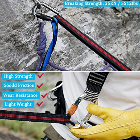 25KN Safety Rock Tree Climbing Express Quickdraw Sling Webbing Rope StrapCordHDU