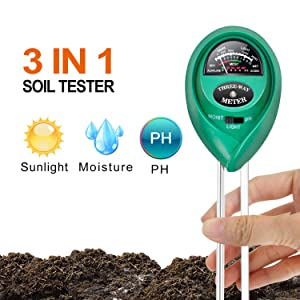 iPower Soil pH Meter, 3-in-1 Soil Test Kit Moisture, Light & pH Home Garden, Lawn, Farm, Plants, Herbs & Gardening Tools, Indoor/Outdoor Plant Care Soil Tester