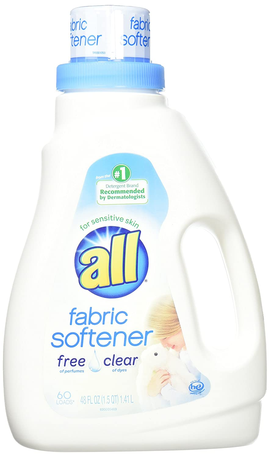 all Liquid Fabric Softener for Sensitive Skin, Free Clear, 48 Fluid Ounces, 60 Loads