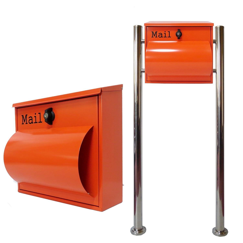 郵便ポスト郵便受けメールボックス大型メール便スタンド型オレンジ色ステンレスポストpm092s B00CC95MEG 21880