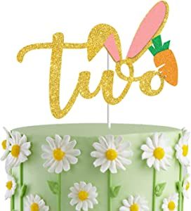 Bunny Ears Two Cake Topper, Second Birthday Cake Decor; Spring Paty Decorations,Bunny 2nd Birthday Cake Smash Photo Prop
