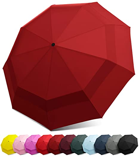 01ed7d7fb EEZ-Y Compact Travel Umbrella with Windproof Double Canopy Construction -  Auto Open and Close