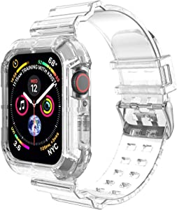 Clear Watch Band for Apple Watch 38mm 40mm,Transparent Clear Soft Silicone Sports iWatch Band Strap for Apple Watch Series 6/5/4/3/SE(Clear 40mm)