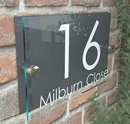 16e1596a1eca House Sign Modern Glass Effect Acrylic Door Number Name Road Plate Plaque:  Amazon.co.uk: DIY & Tools