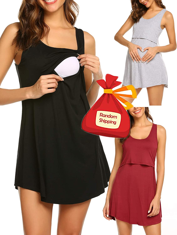 Avidlove Sleep Dress for Women Tank Nightgown Maternity Nursing Gown Sleeveless Sleepwear Nighties
