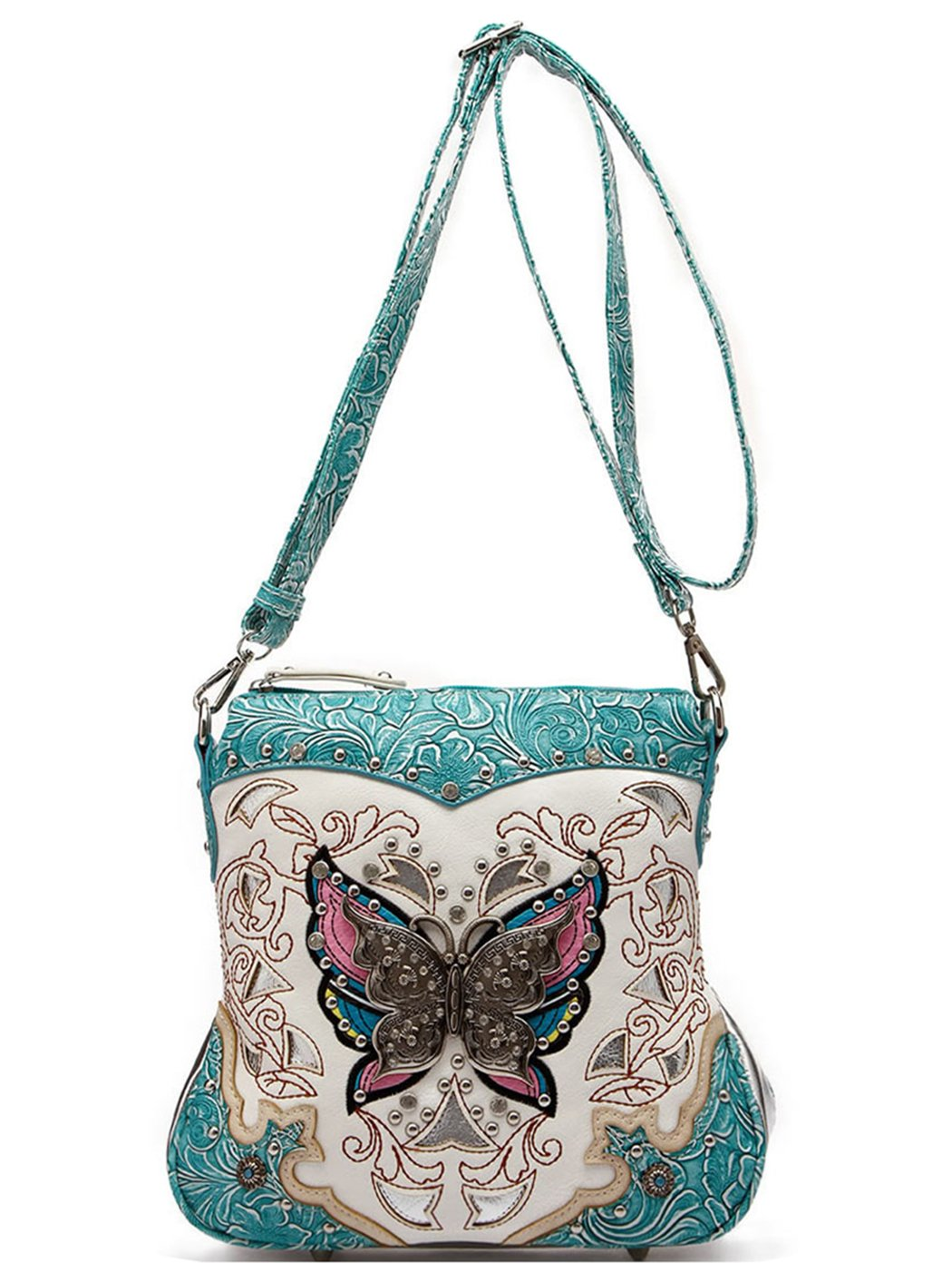Western Style Butterfly Tooled Leather Women Purse Cross Body Handbag Concealed Carry Single Shoulder Bag (Turquoise)
