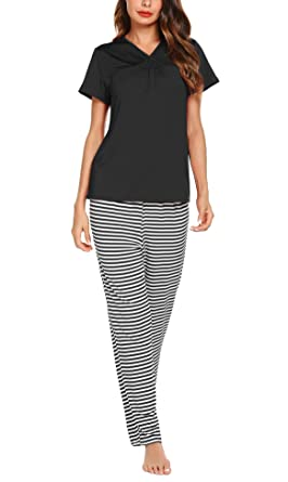 Romanstii Women s Striped Pjs Set Short Sleeve Shirred V-Neck T-Shirt with  Long daef30ce1