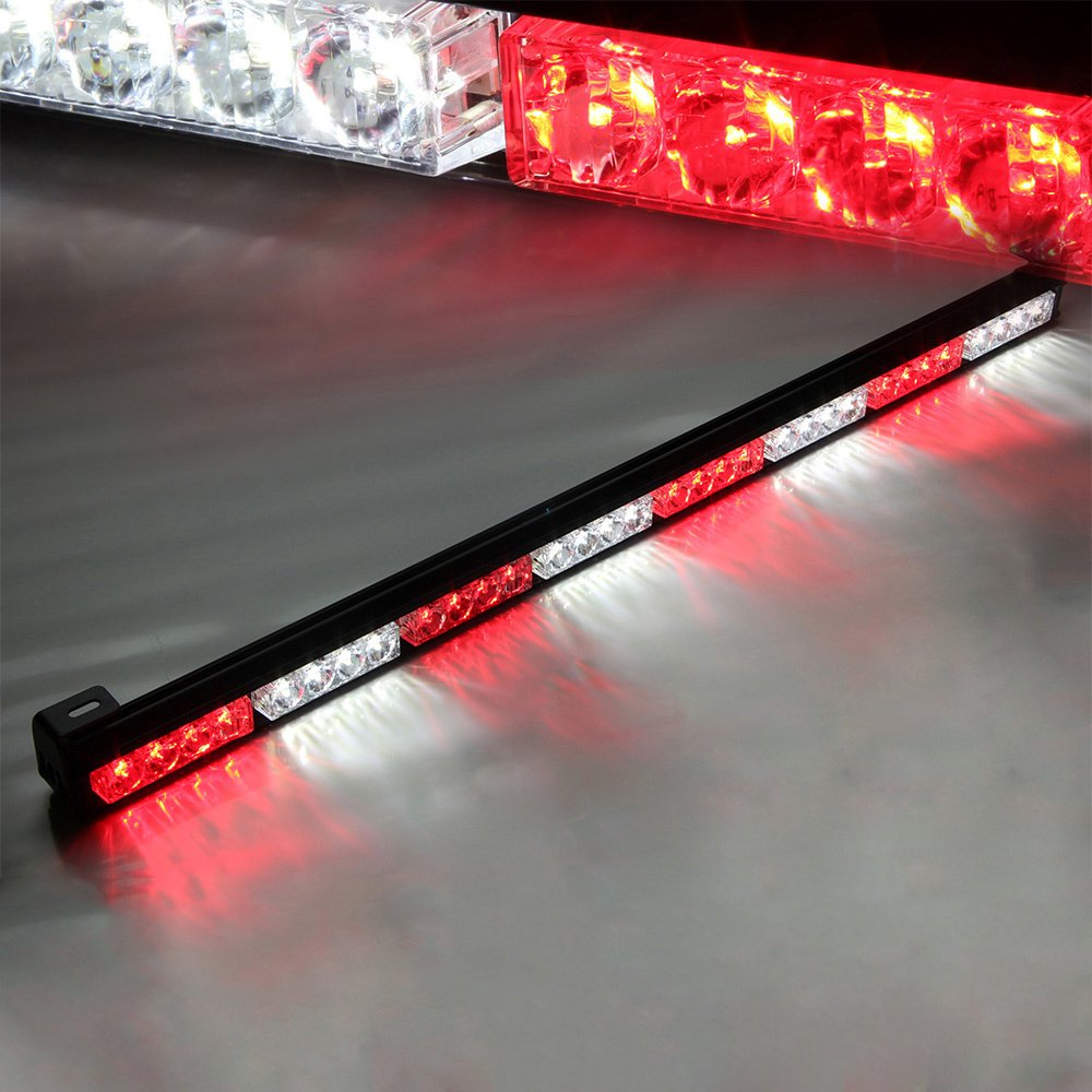 Xprite 35.5' White & Red 7 Modes Traffic Advisor/Advising Emergency Warning Vehicle Strobe Top Roof Light Bar Kit 52023-8MIX-W/R