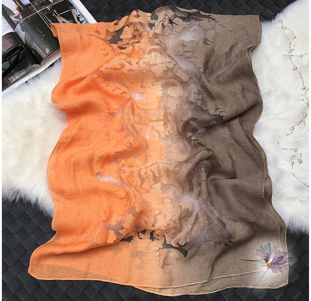 93829a4fae5a Bestfort Echarpe Foulard Femme Ajouré Couleur de Dégradé Anti uv Coloré En  Soie Coton Laine Grand ...