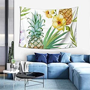 Hangyin Pineapple and Flowers Tapestry Wall Tapestry Home Decor for Bedroom Living Room College Dorm