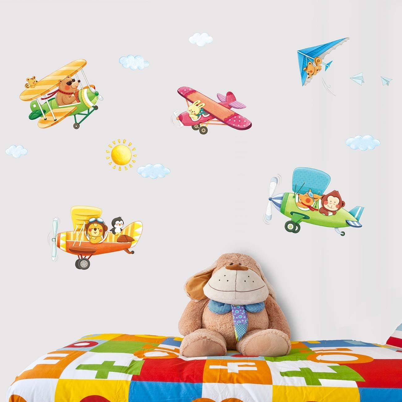 DECOWALL DA-1506B 3 Biplans Animaux Autocollants Muraux Mural Stickers Chambre Enfants B/éb/é Garderie Salon