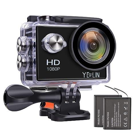 497b3cb92 Amazon.com   YELIN 1080P Full HD 2.0 inch LCD Screen Waterproof Sports  Action Camera Cam DV 5MP DVR Helmet Camera Sports DV Camcorder+Extra 1  Batteries ...