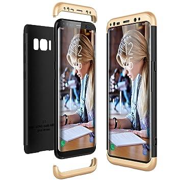 CE-Link Funda Samsung Galaxy S8, Carcasa Fundas para Samsung Galaxy S8, 3 en 1 Desmontable Ultra-Delgado Anti-Arañazos Case Protectora - Oro + Negro