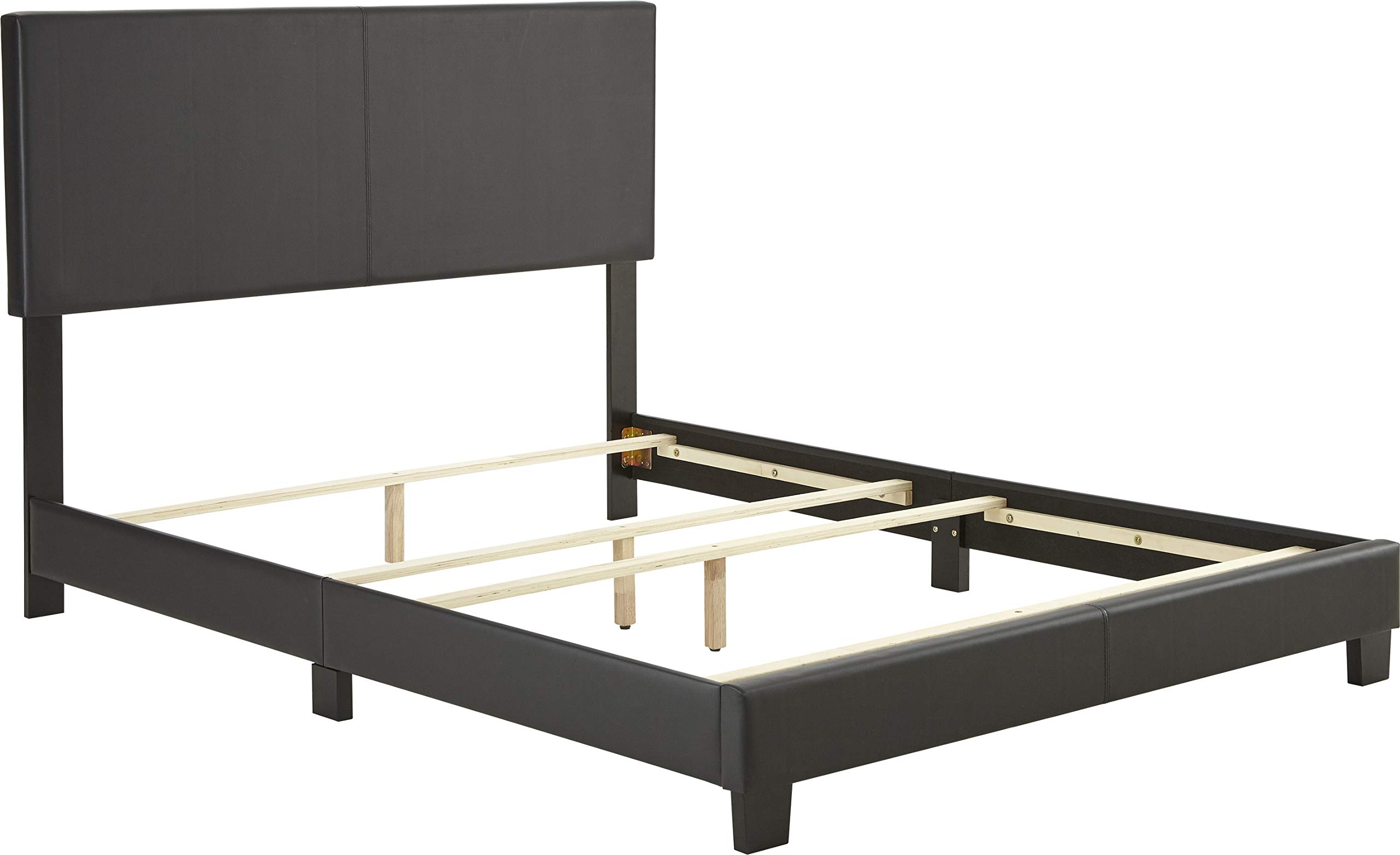 Boyd Sleep Montana Upholstered Platform Bed Frame with Headboard: Faux Leather, Black, Twin