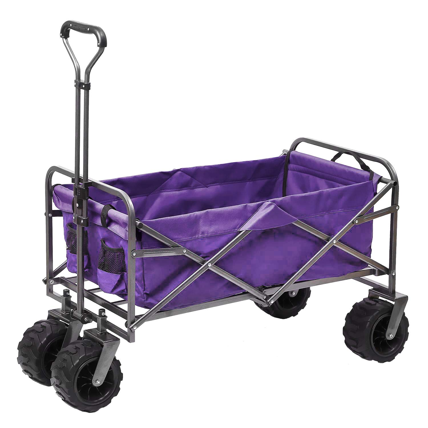 Outdoor Innovations Heavy Duty Collapsible All Terrain Folding Beach Wagon Utility Cart Purple