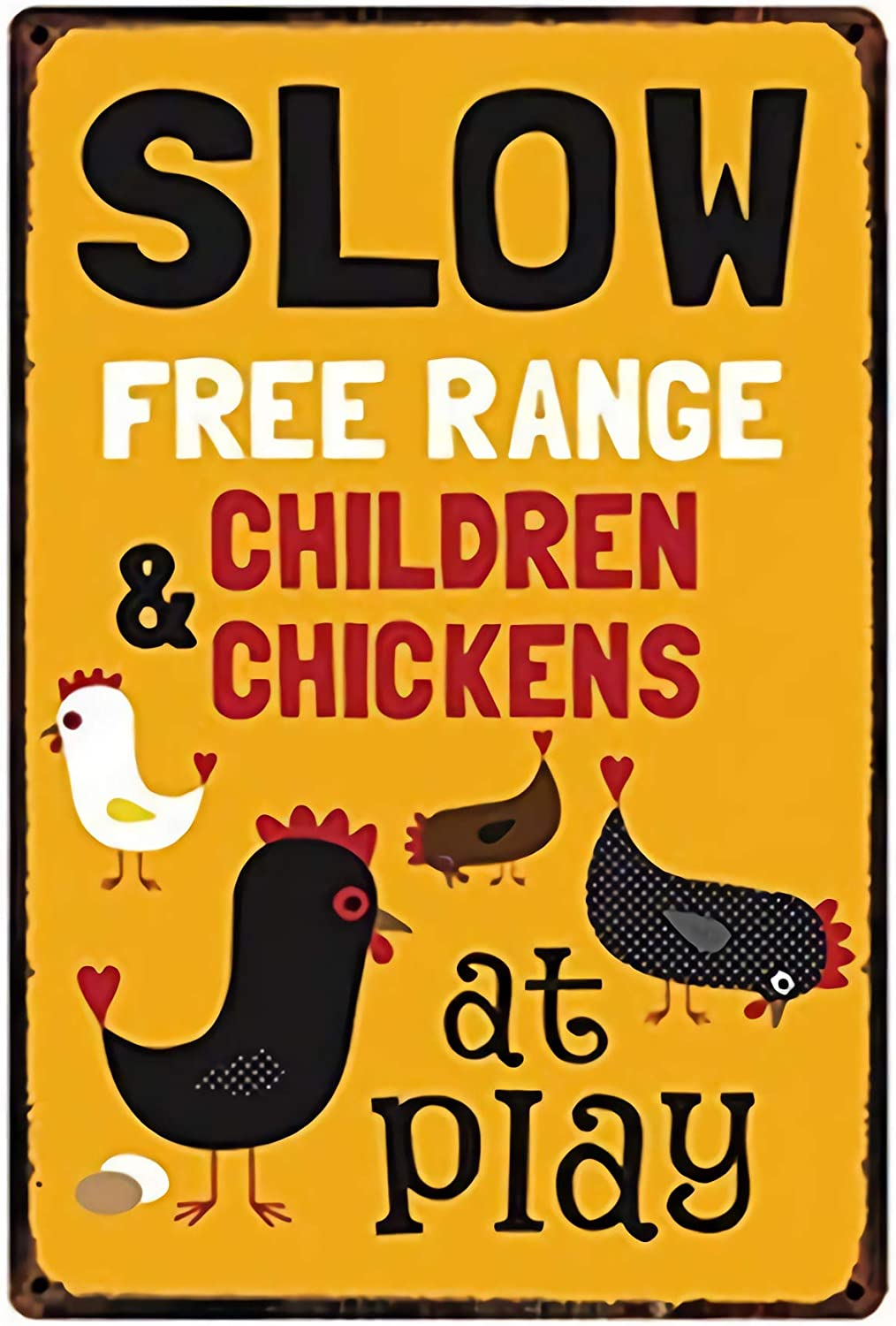 Slow Free Range Children&Chickens at Play Metal Tin Sign 8x12inch Home Kitchen Bar Pub Farm Wall Decor