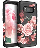 RabeMall Samsung Galaxy S8 Case Unique Pretty Flowers for Girls/Women Anti-Fingerprint Three Layer High Impact Resistant Hybrid Shockproof Protective Cover,Floral Black