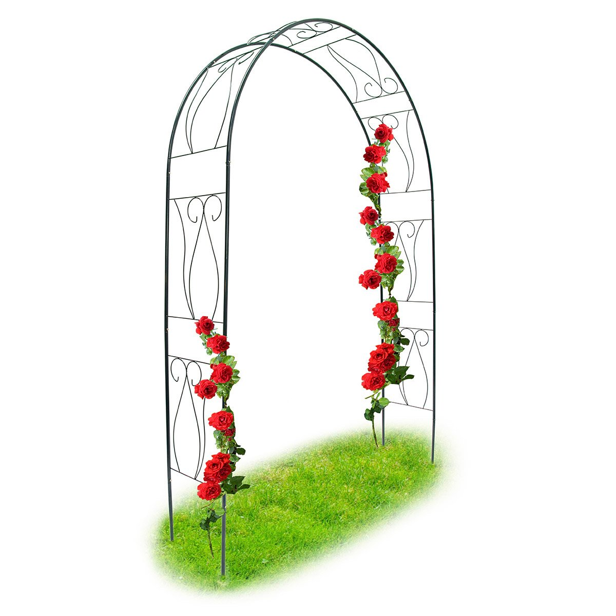 Relaxdays Trellis Archway, Powder-Coated Steel Support Arch for Climbing Plants, 2.3 m Tall, Dark Green 10018869