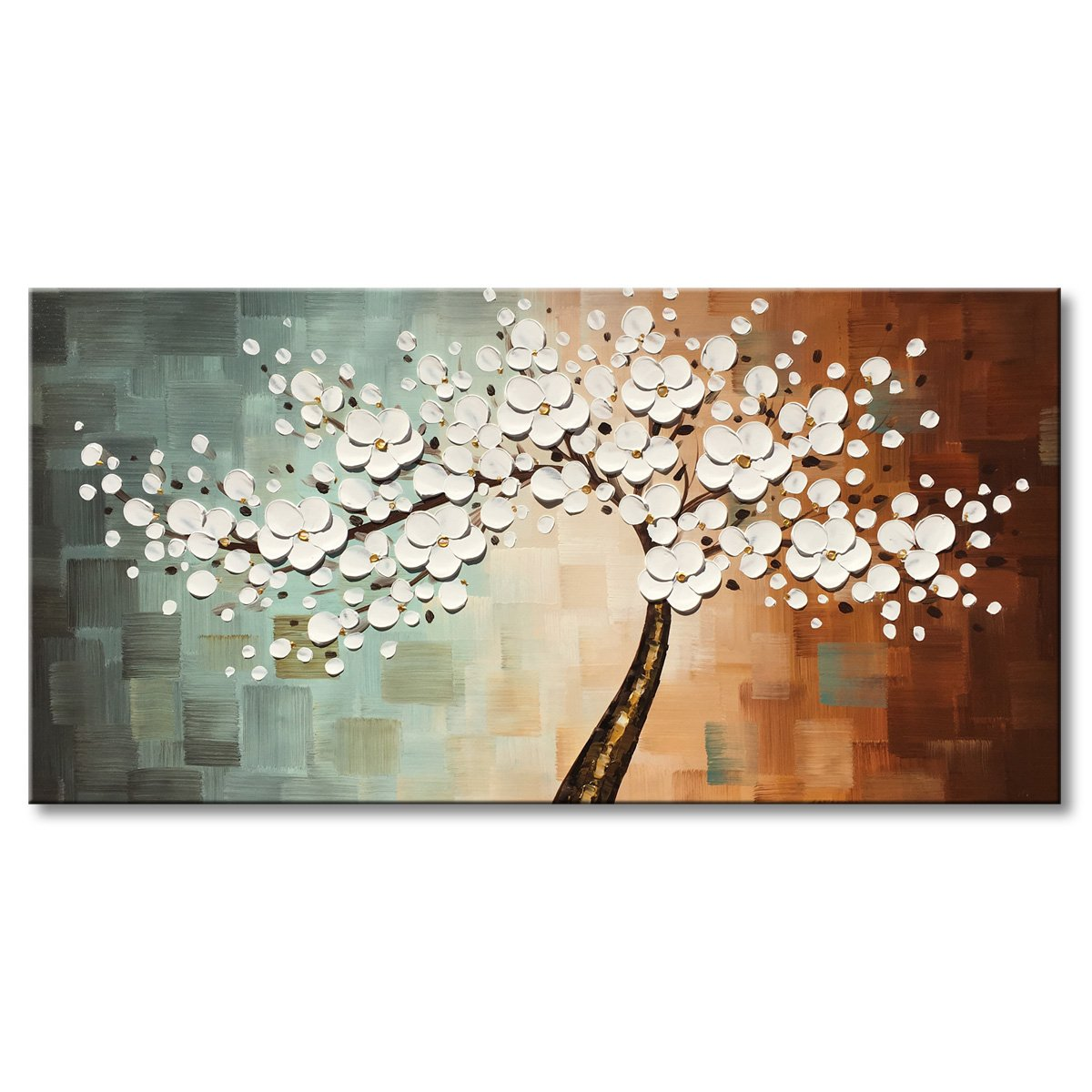 Everfun Art Large White Flower Oil Painting on Canvas Hand Painted Floral Wall Art Abstract Plum Blossom Picture Modern Artwork Decor fro Living Room Framed Ready to Hang 60x30 by EVERFUN ART