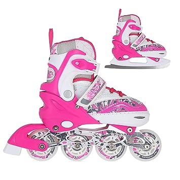 35-38 NILS 4in1 Inlineskates Triskates Rollschuhe Schlittschuhe Pink Gr 31-34