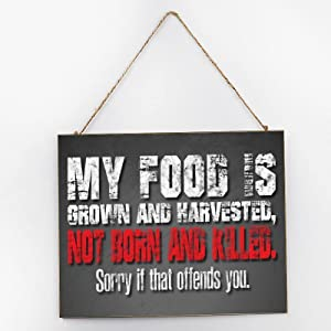 Diuangfoong My Food is Grown Vegan Inspirational Wall Art, Rustic Wooden Signs, Wooden Signs for Home Decor Kitchen Living Room Bathroom, Wood Hanger Frame 10x12x0.2 Inch