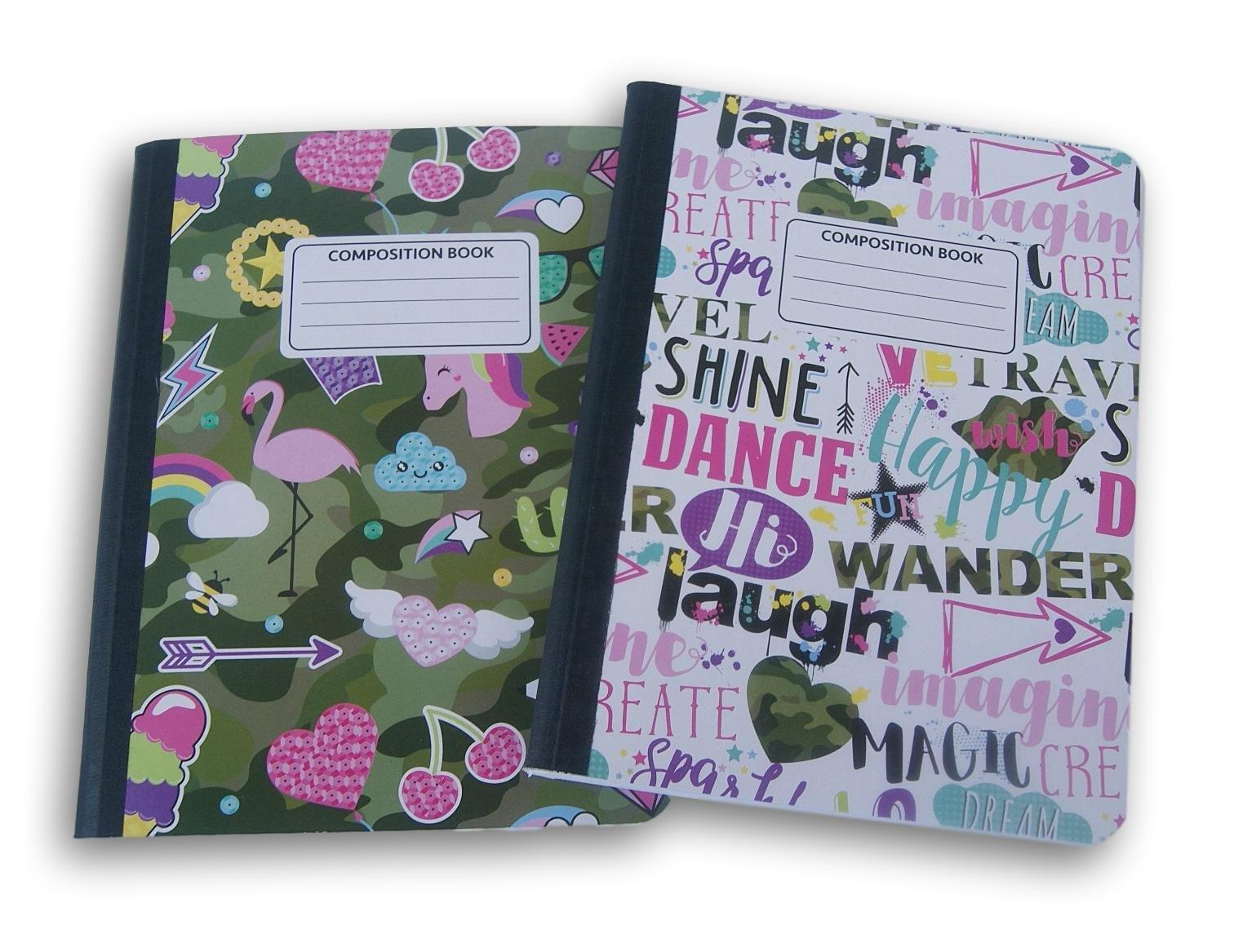 Girl Camouflage Patterned Wide Ruled 100 Sheets Composition Notebooks - (Pack of 2)